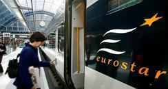 passenger boarding a eurostar at St Pancras