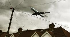 Passenger plane over houses in west london