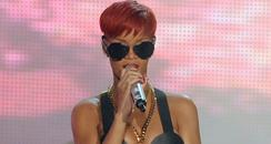 Rihanna performing live on stage