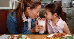 mother and child eating