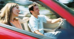 Couple driving in a car
