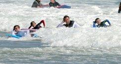 David Beckham surfing
