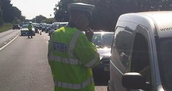 Police talk to drivers after A35 crash