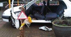 Mock Car Crash Scene At Northampton College