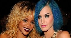 Rihanna and Katy perry hang out at grammy awards