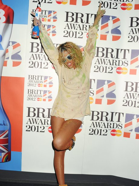 Rihanna backstage at the BRIT Awards 2012