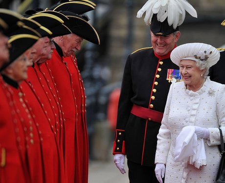 The Queen greets Chelsea pensioners
