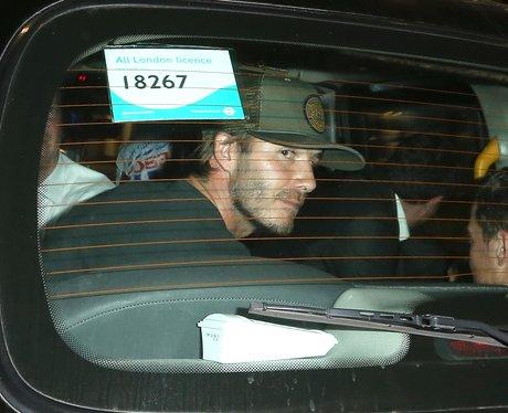 David Beckham in a taxi