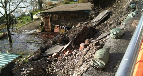 35 properties cut off by landslip