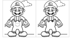 Black and white Mario spot the difference game