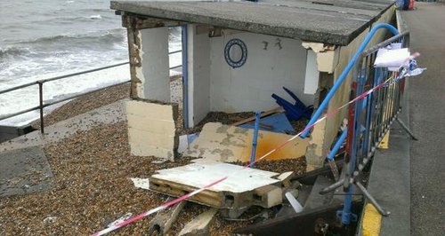 storm damage at Milford-On-Sea