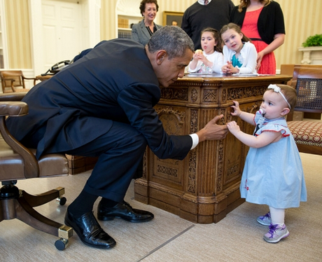 Obama with a small girl