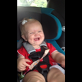 Baby dancing and laughing