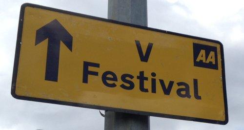 V Festival Road Sign