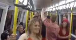 People dancing on a train Facebook