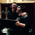 Luke Evans and Josh Gad recording songs fro beauty