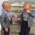 Twins jump the last step together