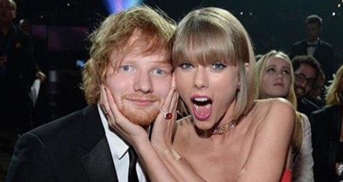 Taylor Swift and Ed Sheeran at The Grammys 2016