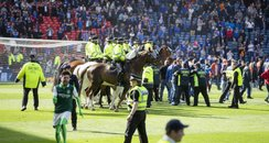 Police horses on pitch at Hampden