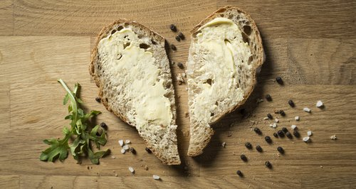 Butter on heart shaped bread