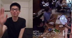 Boy pranking his parents canvas