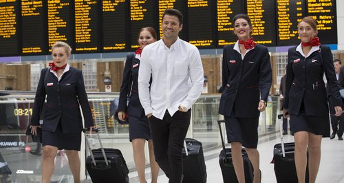 Mark Wright is greeted by Jet2.com cabin crew