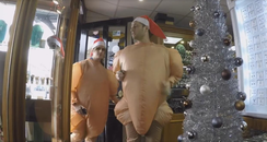 Tom & Nicola dress as Christmas turkeys.