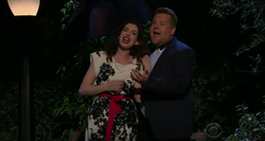 James Corden and Anne Hathway Perform 12 Song Musi